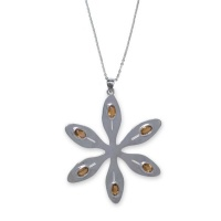 Agapanthus Flower Necklace - Orange Citrine - Sterling Silver Photo
