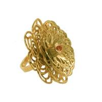 Dahlia Flower Ring - Orange Citrine - Yellow Gold Photo