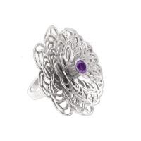 Dahlia Flower Ring - Purple Amethyst - Sterling Silver Photo