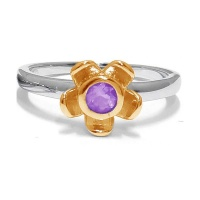 Forget Me Not Flower Ring - Purple Amethyst - Yellow Gold Photo