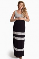 Absolute Maternity Striped Summer Maternity Dress - Black and Grey Photo