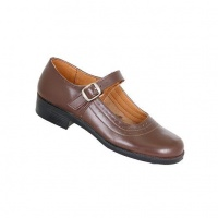 Toughees Pearl Ladies Basic Buckle School Shoes - Brown Photo