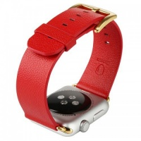 Apple Tuff-Luv Classic Buckle Genuine Leather WatchBand for the Watch 42mm - Red Cellphone Photo