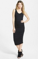 Absolute Maternity Side Ruched Maternity Tank Dress -Black Photo