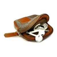 Tuff-Luv Herringbone Tweed Travel Case/Pouch for Earphones - Brown Photo