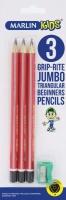 Marlin Kids 3 Jumbo Triangular Graphite Pencils & Sharpener Photo