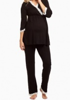 Absolute Maternity Nursing Lace Pyjama Set - Black Photo