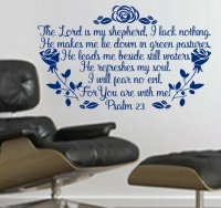 Vinyl Lady Decals Psalm 23 Roses Wall Art Sticker - Blue Photo