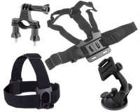 Chest & Head Strap Suction Cup Handlebar Mount Accessories For Gopro - Black Photo