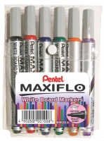 Pentel Maxiflo 4.0mm Bullet Tip Whiteboard Markers - Wallet of 6 Photo
