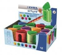 Lyra Groove Twin-Hole Plastic Tub Sharpeners - Display Box of 12 Photo