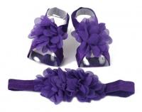 Chiffon Flower Barefoot Sandals & Headband Set in Dark Purple Photo