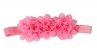 Three Chiffon Flowers Headband in Dark Pink Color Photo
