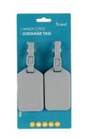 Motoquip Luggage Tag Kit All Grey - 2 Piece Photo