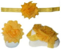 Baby Headbands Girl's Fine Flower Headband with matching Footies - Yellow Photo