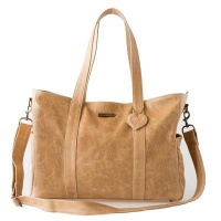 Mally Luxury Leather Baby Bag with Changing Mat - Tan Photo
