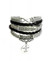Urban Charm Believe In Love Infinity Bracelet - Black & Grey Photo
