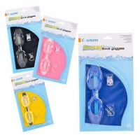 Bulk Pack 4x Swimming Cap & Goggle Set With Ear Plugs & Nose Clip Photo