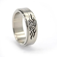 Xcalibur Stainless Steel Band 8mm Wide with 2X Highly Polished Grooves - TXR031 Photo