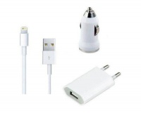 """Mini 3"""" 1 USB Wall & Car Charger USB Cable Kit with Lightning connector Compatible for iPhone Photo"""