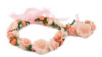 Handmade Floral Crown & Bracelet - Peach Photo