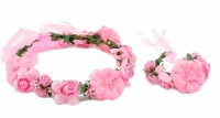 Handmade Floral Crown & Bracelet - Pink Photo