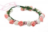 Handmade Floral Crown With Small Roses - Pink White Pink Buds Photo
