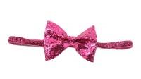 Handmade Shimmery Bow Headband - Hot Pink Photo