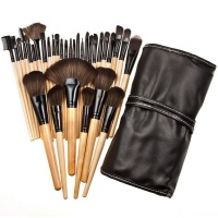 32 Piece Professional Cosmetic Makeup Brush Set Kit With Synthetic Leather Case Photo