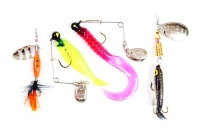 FishX 4-Piece Freshwater / Saltwater Curly Tail Fishing Spinner Lure Kit Photo
