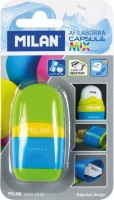 Milan Sharpener With Capsule Mix Container Eraser Blister - Pink Blue & Yellow Photo