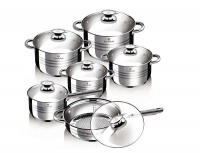 Blaumann 12-Piece Stainless Steel Jumbo Cookware Set With Marble Coating Fry Pan Bl-3167 Photo