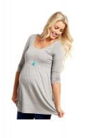 Absolute Maternity Three Quarter Sleeve Top - Melange Grey Photo