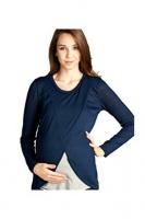 Absolute Maternity Tulip Nursing & Maternity Top - Navy Blue & Melange Grey Photo