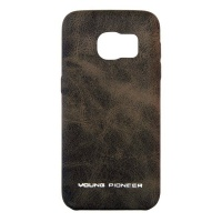 Samsung Young Pioneer PU Leather Back Cover For S7 Edge - Brown Photo