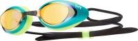 TYR Black Hawk Mirrored Racing Goggles - Gold/Green Photo