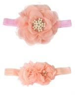 Croshka Designs Set of Two Flower Headbands in Peach Photo