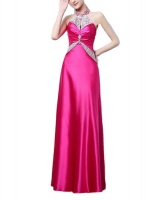 Sparkle Halter Elegant Satin Gown - Fuschia Pink Photo