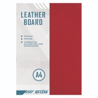 A4 270gsm Leather Grain Board Red - Pack of 50 Photo