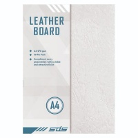 A4 270gsm Leather Grain Board White - Pack of 50 Photo