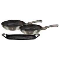 Berlinger Haus Marble Coating Frypan & Grill Plate 3 Piece Set - Rose Gold Collection Photo