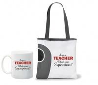 Qtees Africa I Am A Teacher Printed Mug & Tote Bag Combo - Red Photo