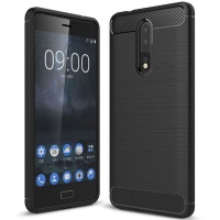 Nokia Tuff-Luv Carbon Fibre Effect Shockproof Protective Back Cover Case for 8 - Black Cellphone Cellphone Photo