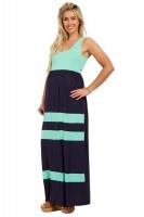 Absolute Maternity Summer Striped Maxi Dress - Navy & Mint Photo