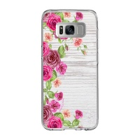Samsung Hey Casey! White Washed Mock Wood & Roses Phone Case for S8 Photo