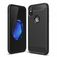 Apple Tuff-Luv Brushed Carbon Fiber Style Protective Shockproof Back Cover for iPhone X - Red Photo