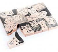 BAJO Wooden Crowd Faces Puzzle Photo