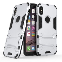 "Apple 2"" 1 Shockproof Stand Case for iPhone X - Silver Photo"
