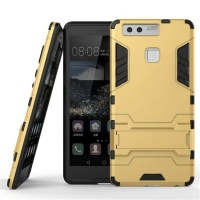 2-in-1 Hybrid Dual Shockproof Stand Case for Huawei P9 - Gold Photo