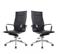 TOCC Set of 2 Ribbed High Back Chair - Black Photo